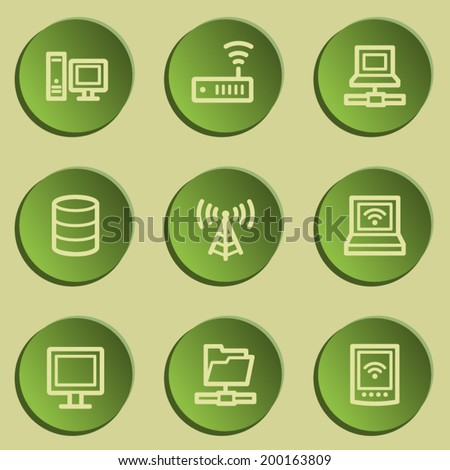 Network web icons , green paper stickers set - stock vector