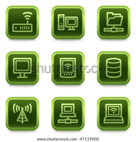 Network web icons, green square buttons series - stock vector