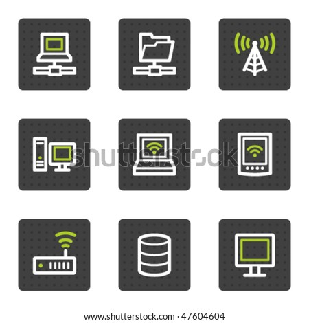 Network web icons, grey square buttons series - stock vector