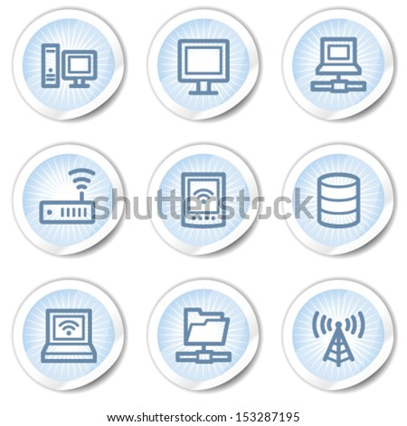 Network web icons, light blue stickers - stock vector