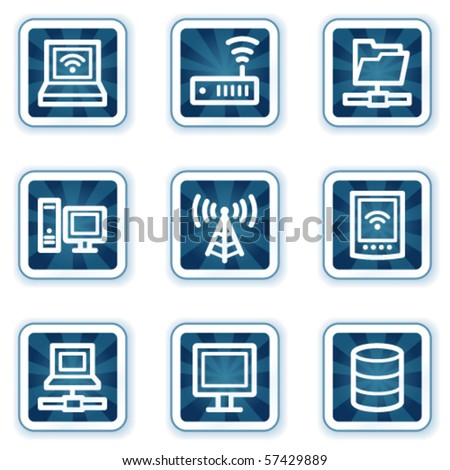 Network web icons, navy square buttons - stock vector