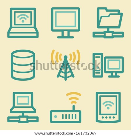Network web icons, retro colors - stock vector