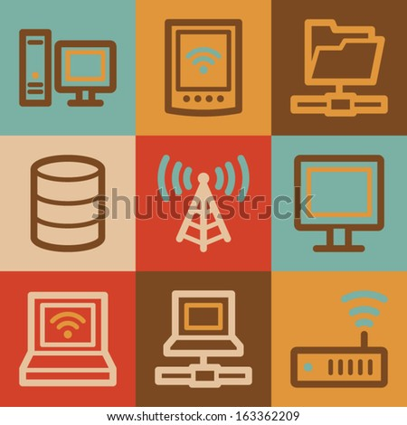 Network web icons, vintage series - stock vector