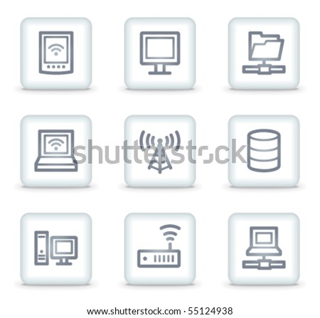 Network web icons, white square buttons - stock vector
