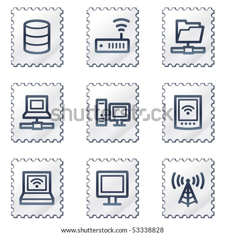 Network web icons, white stamp series - stock vector