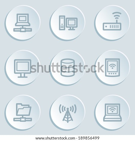 Network web icons, white sticker buttons - stock vector