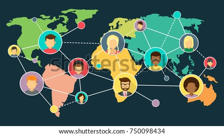 Network world map flat design vector stock vector 750098434 network with world map flat design vector illustration gumiabroncs Choice Image