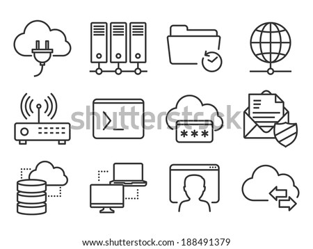 Networking and telecommunications icons set - stock vector
