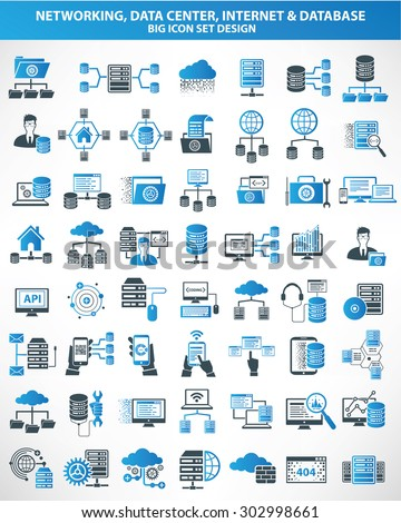 Networking,Data center,Internet,Cloud computing,Database server icons,blue version,clean vector - stock vector