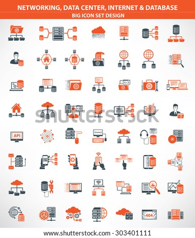 Networking,Data center,Internet,Cloud computing,Database server icons,orange version,clean vector - stock vector