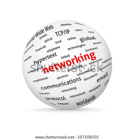 Networking globe. ?oncept wordcloud. Vector design advertise.