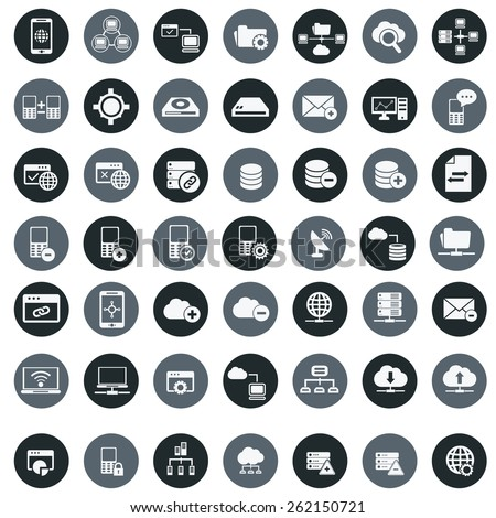 Networking  storage and Communication icon set vector.  - stock vector