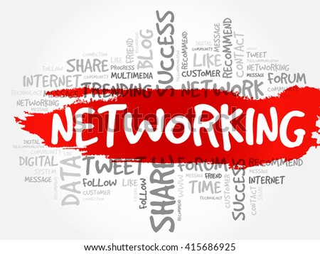 Networking word cloud, business concept - stock vector