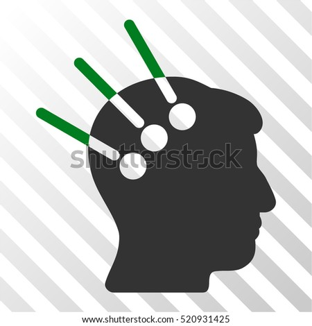Neural Interface vector icon. Illustration style is flat iconic bicolor green and gray symbol on a hatch transparent background.