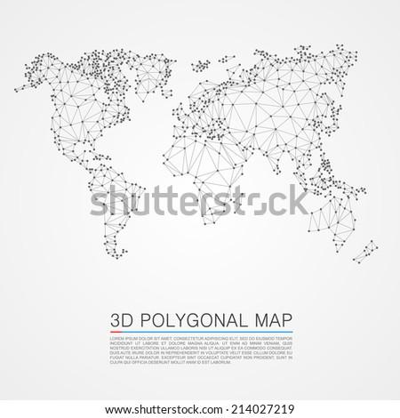 Neural network map 3d polygon. Vector illustration - stock vector