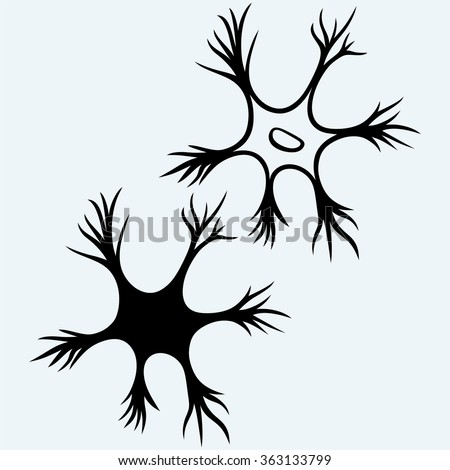 Neuron icon. Isolated on blue background. Vector silhouettes - stock vector