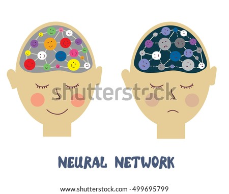 Neurons and human emotions illustration - conceptual vector graphic illustration