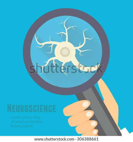 Neuroscience flat illustration. Nervous system research concept. - stock vector