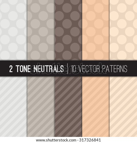 Neutral Color Jumbo Polka Dots and Diagonal Stripes Patterns in Two-toned Gray and Beige Colors. Vector EPS File Pattern Swatches made with Global Colors. - stock vector