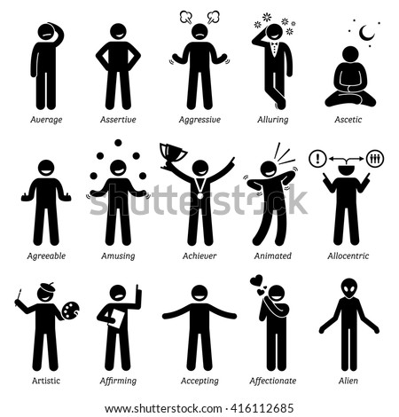 Neutral Personalities Character Traits. Stick Figures Man Icons. Starting with the Alphabet A. - stock vector