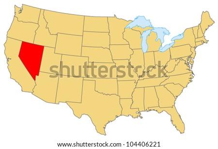 Nevada Locate Map - stock vector