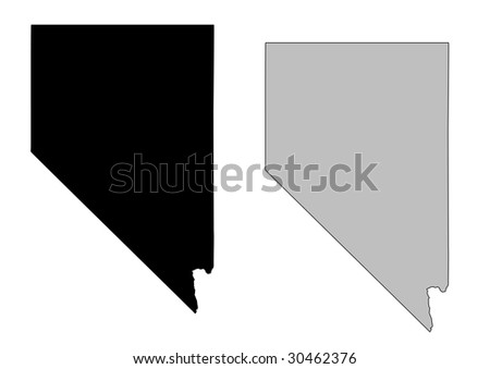 Nevada map. Black and white. Mercator projection. - stock vector