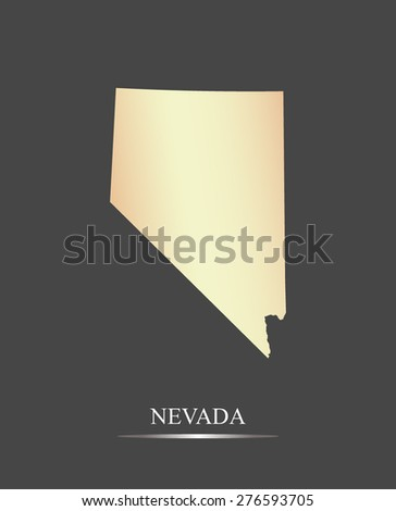 Nevada map outlines in an abstract grey background, a black and white map of State of Nevada in USA - stock vector
