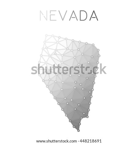 Nevada Polygonal Vector Map Molecular Structure Us State Map Design Network Connections Polygonal Nevada