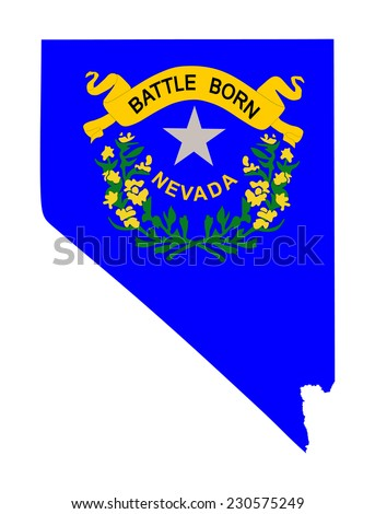 Nevada vector map and flag isolated on white background.Original and simple Nevada state flag isolated vector in official colors and proportion correctly