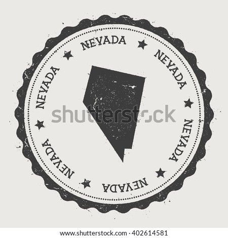 Nevada Vector Sticker Hipster Round Rubber Stamp With Us State Map Vintage Passport Stamp