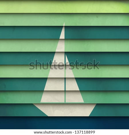 new abstract symbol of boat on striped paper can use like holiday design - stock vector