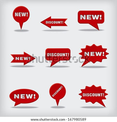 new and discount badges - stock vector