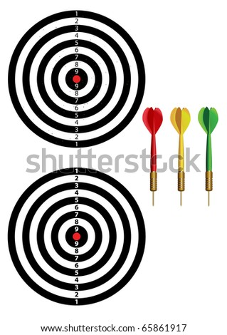 new and old dartboards and 3 colors of dart - stock vector