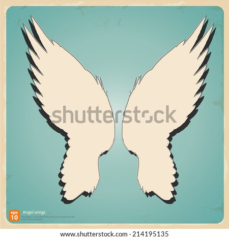New angel wings silhouette vector design vintage and retro concept  - stock vector