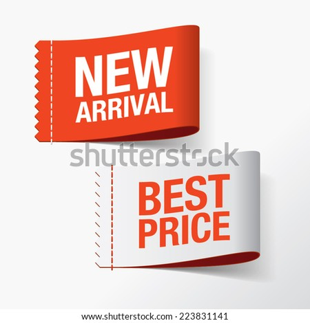 New arrival and best price labels - stock vector