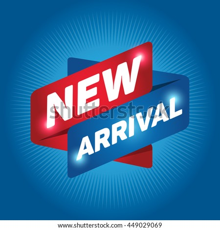 NEW ARRIVAL arrow tag sign icon. Special offer label. Cyan background. - stock vector