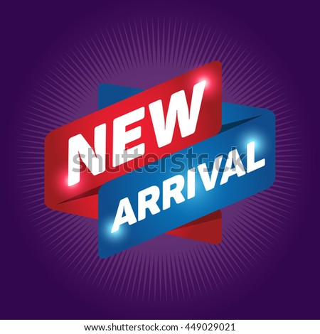 NEW ARRIVAL arrow tag sign icon. Special offer label. Purple background. - stock vector