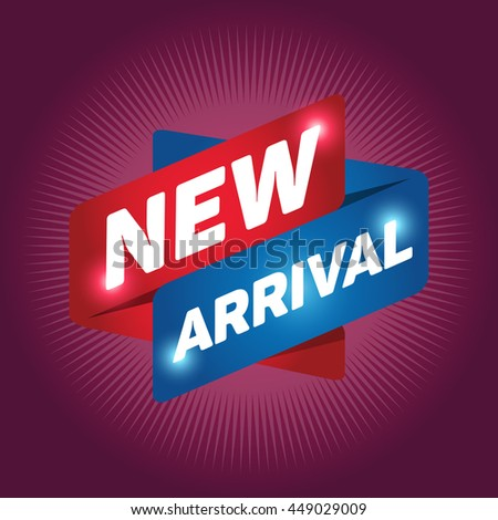 NEW ARRIVAL arrow tag sign icon. Special offer label. Ruby background. - stock vector