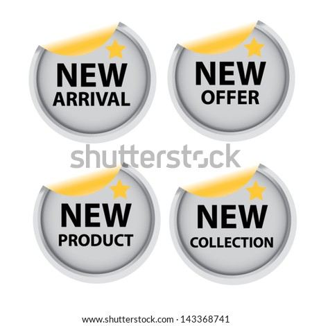 New arrival, New offer, New product, New collection metal labels. - stock vector
