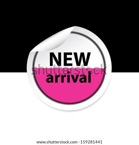 New arrival pink sticker, label and sign set on black and white background. Vector - stock vector