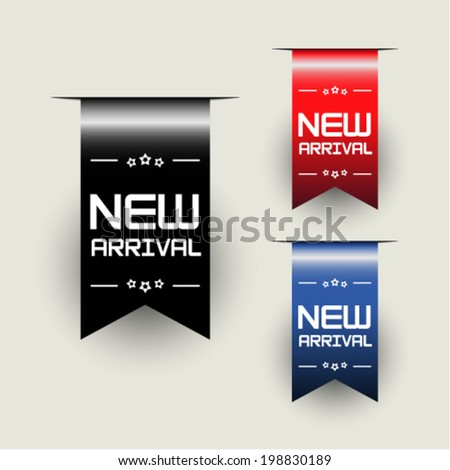 New Arrival Ribbons - stock vector