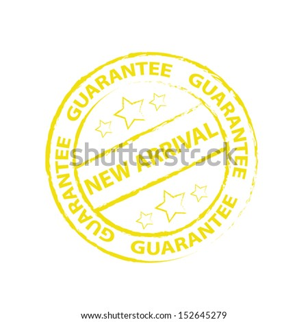 New arrival Rubber stamp, sticker, tag, icon, symbol with yellow color, isolated on white background. Vector illustration  - stock vector