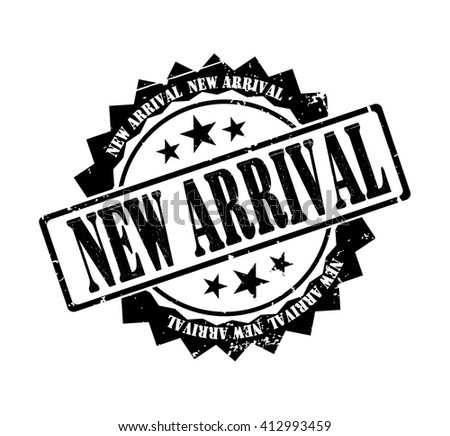 new arrival stamp on a white, vector illustration