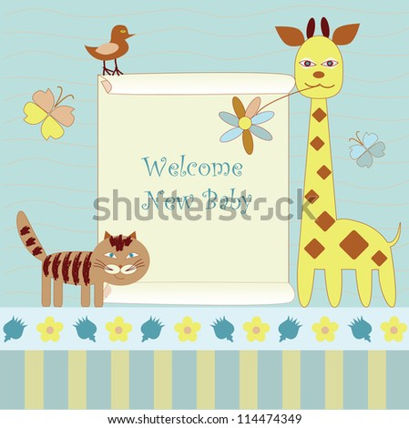 new baby announcement with  giraffe and ca - stock vector