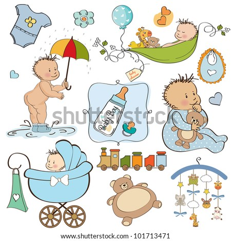 new baby boy elements set isolated on white background - stock vector