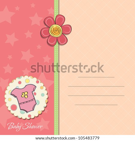 new baby girl announcement card - stock vector