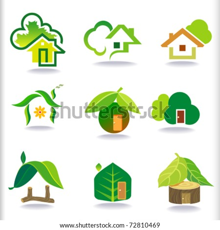 NEW- BIO GREEN HOUSES ICONS - stock vector