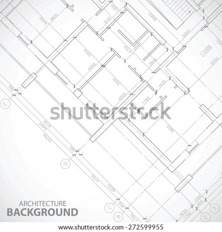 New black architectural plan in unique style. Vector illustration - stock vector