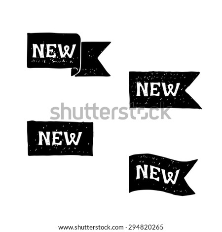 New black labels. Vector. - stock vector
