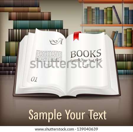 New books open with text on desk, vector illustration. - stock vector